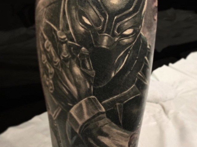 Realistic Black Panther colour tattoo, marvel colour tattoo sleeve