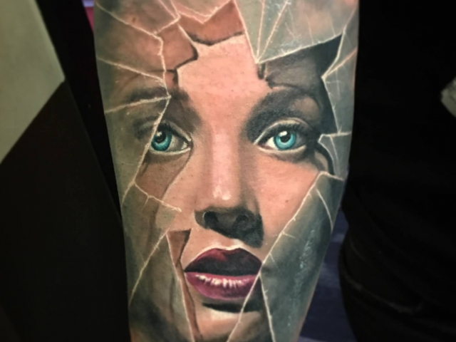 Realistic portrait tattoo in colour on arm 3d tattoos london