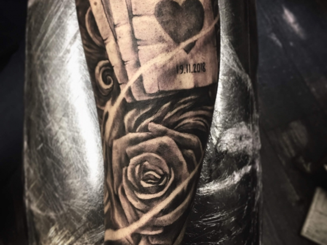 Black and grey realistic tattoos Playing Cards with rose sleeve tattoo